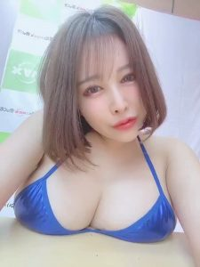 Mion Hazuki in blue bikini